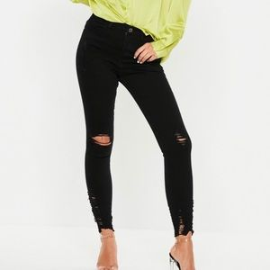 Missguided Black Ripped Skinny Jeans Size 4